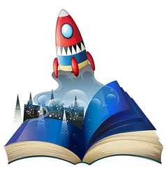 A book with an image of celltowers and a spaceship vector