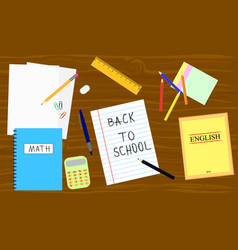 back to school - table with school equipment book vector image