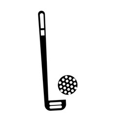 Black icon golf club and ball vector
