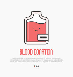 blood donation concept thin line blood bag icon vector image vector image