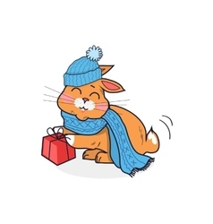 Cat in hat isolated design flat vector