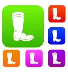 cowboy boot set color collection vector image