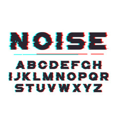 Decorative bold font with digital noise vector