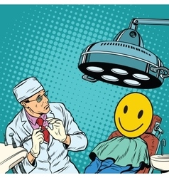 Dentist afraid happy faces vector