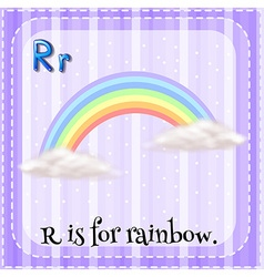 Flashcard of r is for rainbow vector