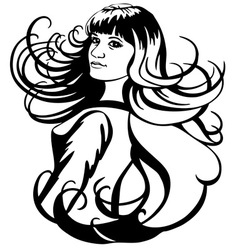 girl and hair vector image