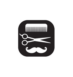 Hairdressing black and white icon abstract vector