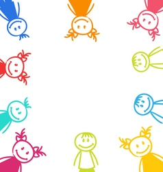 Hand-drawn Cute Funny Kids Colorful Girls and Boys vector image