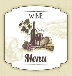 Hand drawn vintage wine menu background vector image vector image