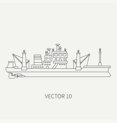 Line flat retro icon comercial trawler ship vector