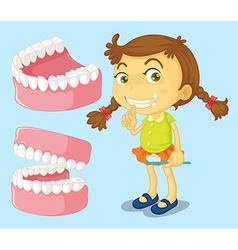 Little girl with clean teeth vector