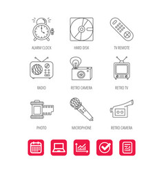 Microphone video camera and photo icons vector