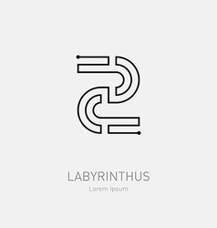 Number 2 labyrinth logo template line art rebus vector