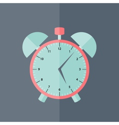 Pink and blue alarm clock flat icon vector image
