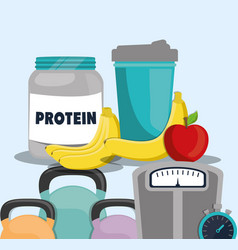 Protein food fruit juice weight gym vector