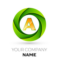 Realistic letter a logo in the colorful circle vector