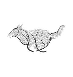 Running wolf stylized bush vector