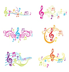 Set of Colorful Musical Notes vector image