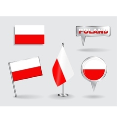 Set of polish pin icon and map pointer flags vector