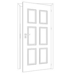 sketch of opened wire-frame door vector image