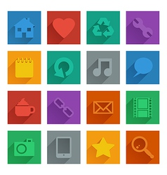 square media icons set 1 vector image vector image