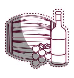 Sticker line bottle wine barrel and grape vector