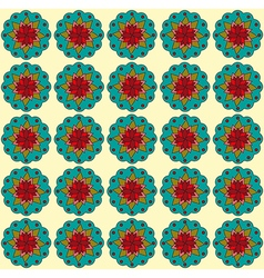 Teal flowers on beige backdrop vector