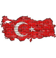 Turkey map on a brick wall vector