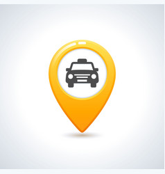 yellow taxi icon map pin with taxi car sign vector image vector image