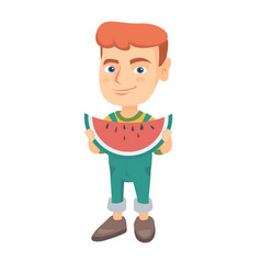 young caucasian boy eating delicious watermelon vector image