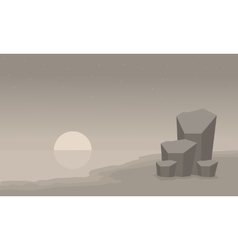 Landscape beach and rock of silhouette vector