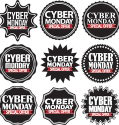 Cyber monday special offer black signs set vector