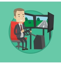 Man playing video game with gaming wheel vector