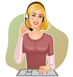 Young girl a call operator vector