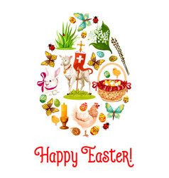 Easter egg poster with cartoon holiday symbols vector