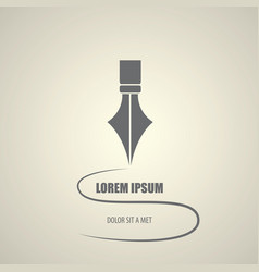 Flat fountain pen icon isolated vector