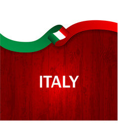 italy sport style flag ribbon wooden style vector image
