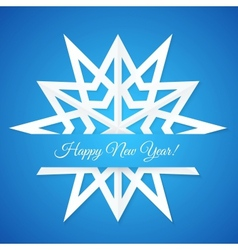 Blue paper snowflake postcard vector