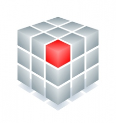 Cube with one red block vector