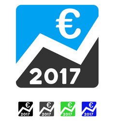 2017 euro chart flat icon vector
