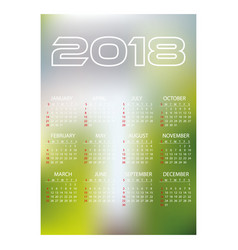 2018 simple business wall calendar abstract blur vector image vector image