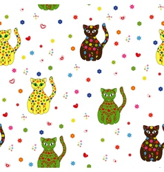 Seamless with different stylized cats vector image