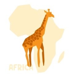 Simple of giraffe on background africa map vector