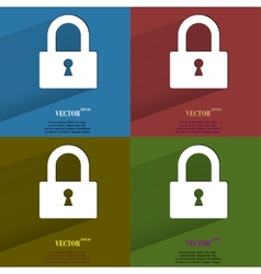 Color set padlock flat modern web button with long vector