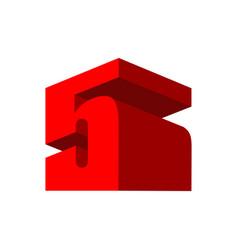 5 logo five 3d emblem digital abstract sign for vector