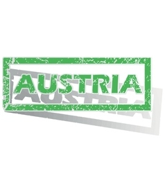 Green outlined austria stamp vector