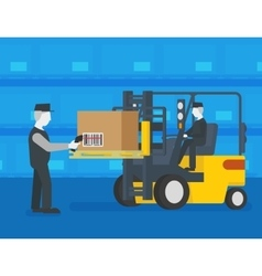 Barcode scanning at the warehouse vector image