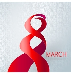 Ribbon march 8 greeting card vector