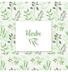 Seamless green plant background with square frame vector