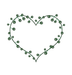 Green flower buds in a heart shape vector